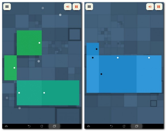 Aus jedem Rechteck sollst du ein Quadrat machen. Gar nicht so einfach. Weiße Punkte dehnen ein Rechteck, schwarze stauchen es.