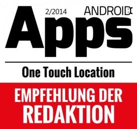 Die One Touch Location App wurde im am 02. Jänner 2014 erscheinen Printmagazin Android Apps 2/2014 als beste GPS Tracking App ausgezeichnet.