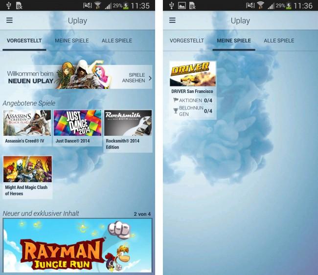 In der Anwendung werden die Neuvorstellungen sowie bereits erworbene Games angezeigt.