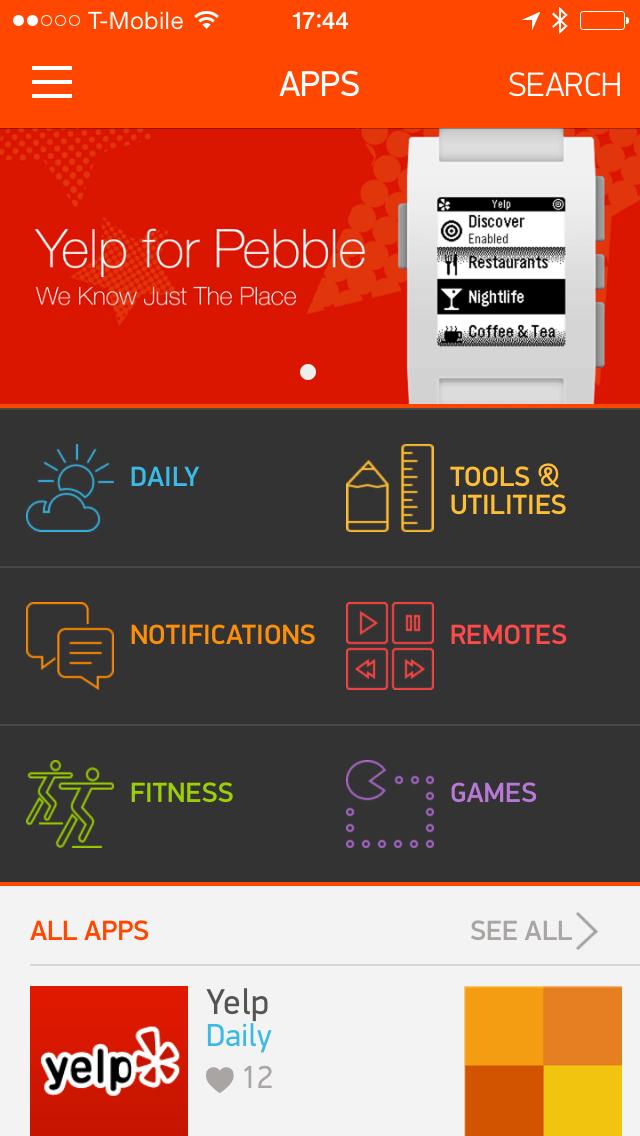 Der Pebble App Store ist beim Start gut befüllt (Bildquelle: Pebble)