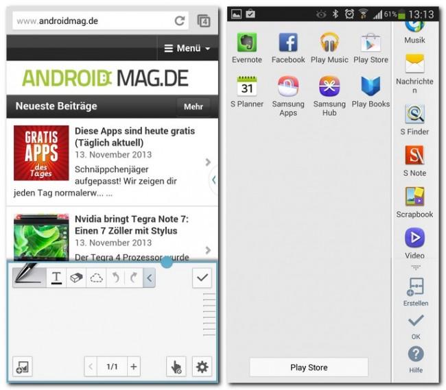 Die Multi Window-Funktion erleichtert das Arbeiten mit dem Galaxy Note 3 ungemein. Im Einstellugnsmenü kannst du festlegen, welche Apps in der Multi Window-Leiste aufscheinen.
