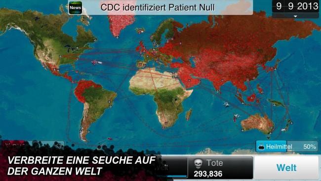 Auf der Weltkarte können Sie den Krankheitsverlauf verfolgen.