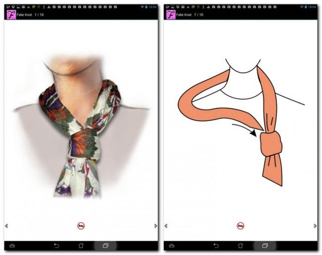 Diese App gibt euch eine genau Anleitung wie man einen Schal bindet.