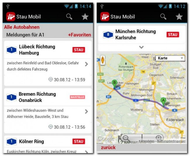 Mit der App Stau Mobil kommst du immer rasch ans gewünschte Ziel.