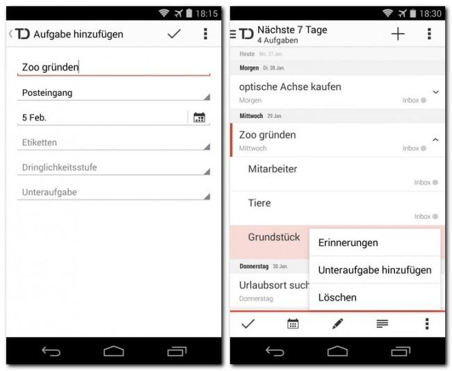 Die App Todoist verwaltet deine Aufgabenlisten und gleicht ihre Daten automatisch zwischen mehreren Geräten ab.