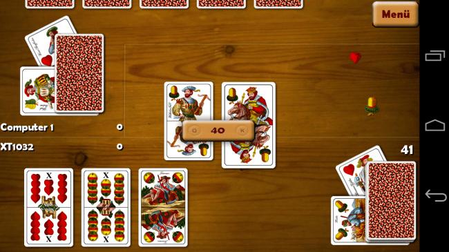 Schnopsn online App erlaubt das Spiel gegen eine KI, aber auch gegen Mitspieler aus Fleisch und Blut – selbst plattformübergreifend.