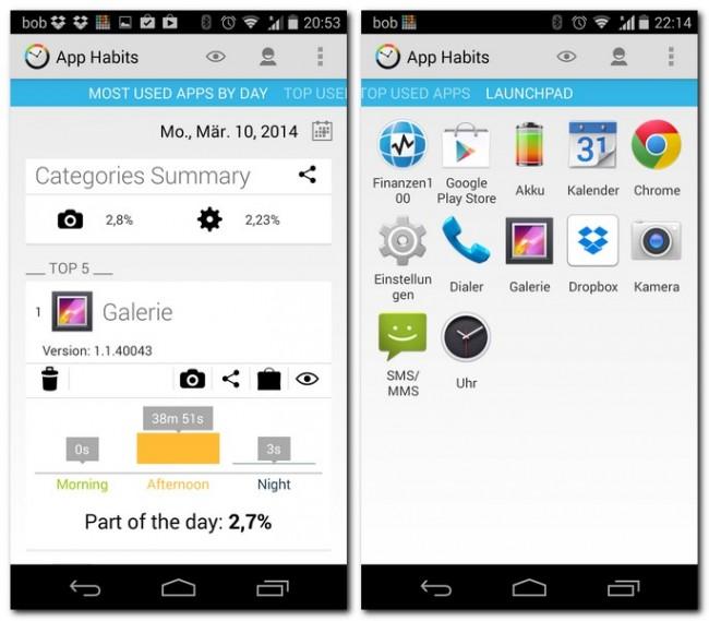 Oben findest du die Kategorien-Statistik, darunter die am häufigsten verwendeten Apps. Über das Launchpad hast du Zugriff auf all diese Apps.