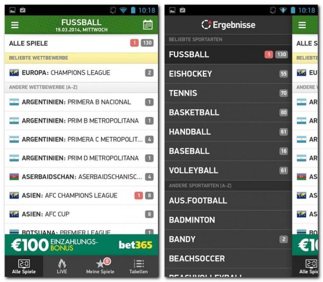 Diese tolle App bietet dir (Live-)Sportergebnisse zu 26 verschiedenen Sportarten. Hier ist bestimmt für jeden Sportliebhaber etwas Brauchbares dabei.