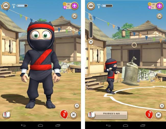 Der ungeschickte Ninja ist darauf angewiesen, dass du ihn trainierst, so dass er irgendwann in der Lage sein wird, sich auf die Suche nach seiner verschwundenen Freundin zu begeben.