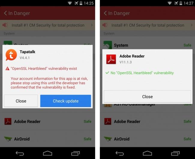 Wenn der Heartbleed Scanner eine App entdeckt, die eine von der Sicherheitslücke betroffene Verschlüsselungs-Software verwendet, dann gibt er dir die Möglichkeit, im Play Store nachzusehen, ob schon eine aktualisierte Version der App existiert.