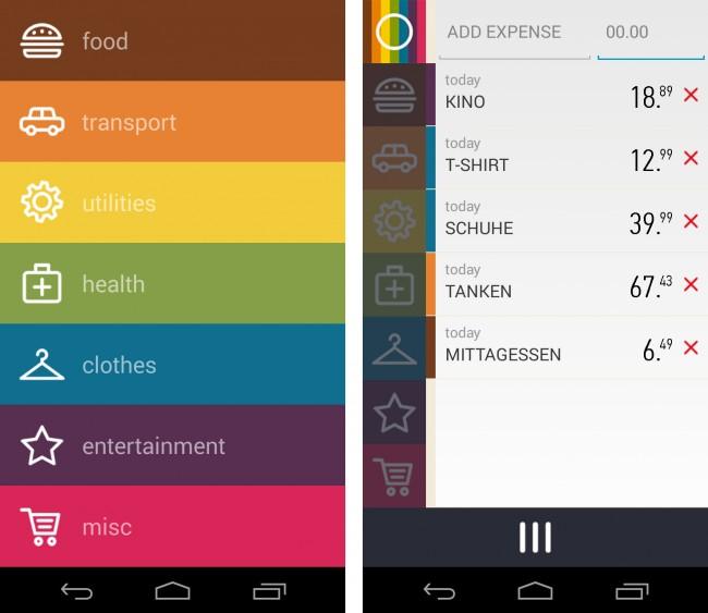 Die Kategorien werden von der App vorgegeben und du kannst auch keine neuen hinzufügen.
