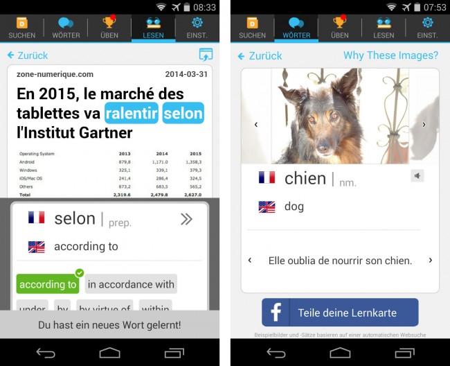 Die App Lingua.ly verwendet als Übungstexte Nachrichten, deren Themen dich interessieren. Unbekannte Wörter kannst du dir übersetzen lassen und in deine Vokabelliste aufnehmen.
