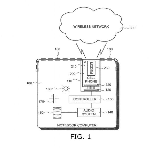 Das Patent 8,649,821: Googles Idee, eines Notebooks mit einsteckbarem Smartphone. (Bild: USPTO)