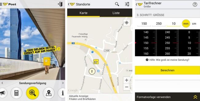 Sendungsverfolgung, Tarifrechner, Standortsuche: Die neue Post-App bietet viele Funktionen