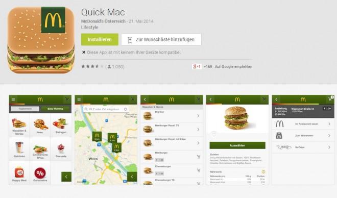 In Österreich schon möglich: Mit der Anwendung Quick Mac können Bestellungen online abgegeben und bezahlt werden. (Bild: Google Play Store Screenshot)
