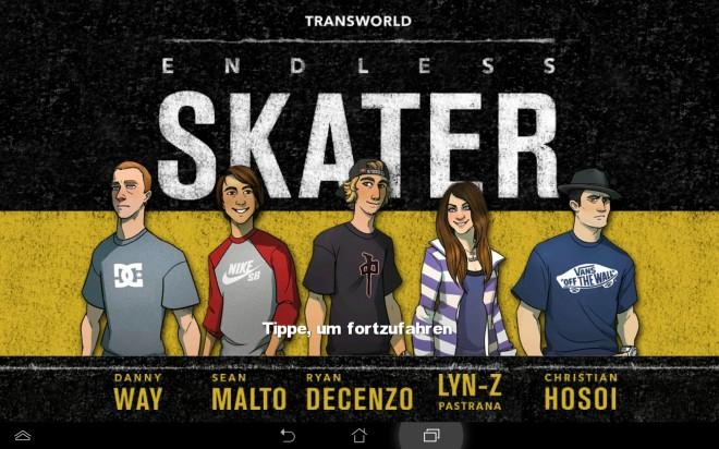 In diesem Spiel entscheidest du dich für einen von fünf professionellen Skateboardern