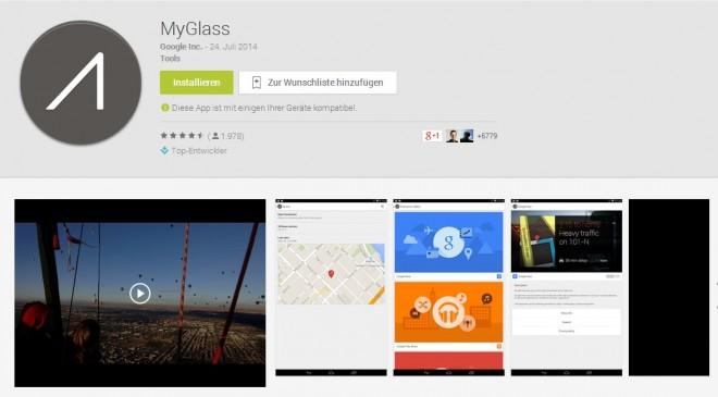 """Mit """"MyGlass"""" ist die Companion-App zur Google Glass ab sofort auch im deutschen Play Store verfügbar."""