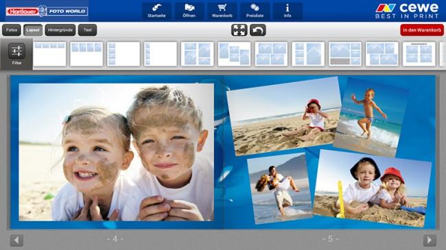 Mithilfe des umfangreichen, einfach zu bedienenden Editors lassen sich per Drag-and-Drop direkt am Smartphone oder Tablet sehenswerte Fotobücher zusammenbauen und erstellen.