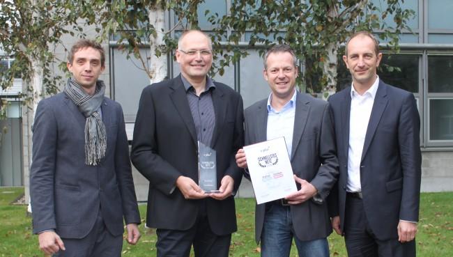Namen von links nach rechts: Andreas Gutzelnig (Android Magazin); Gerhard Lüdtke und Jörg Borm (E-Plus); Markus Gloy (Floq)