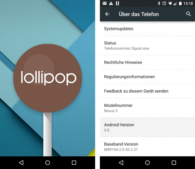 Durch mehrfaches Tippen auf die Versions-Nummer kommt ein Lollipop zum Vorschein.