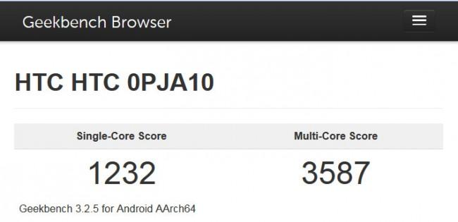 """Das neue Smartphone """"HTC One (M9)"""" kann dank des Snapdragon-810-Prozessors mit sehr guten Ergebnissen bei Geschwindigkeitsmessungen aufwarten, ... (Bildschirmfoto: Web-Site Primate Labs)"""