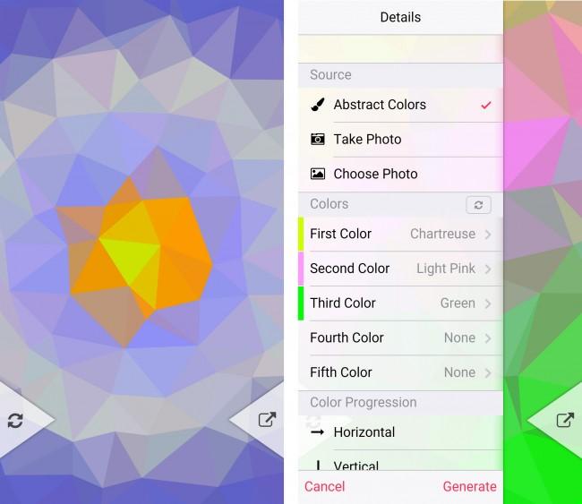 Mit Hilfe eines Algorithmus berechnet die Anwendung zufällige Polygon-Anordnungen und färbt sie in unterschiedlichen Farben ein.