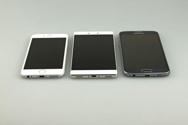 iPhone 6, Huawei P8 und Galaxy S6: Die Design-Anleihen beim iPhone 6 (links) sind zwar nicht zu leugnen, Samsung hat beim Galaxy S6 (rechts) aber noch stärker zugelangt. Das P8 wirkt immerhin weniger rundgelutscht.