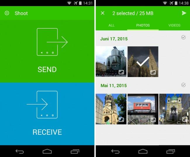 Mit der App Shoot kannst du Bild- und Videodateien schnell und bequem zwischen Smartphones oder Tablets übertragen.