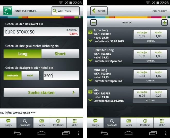 """Die App """"Trader's Box"""" hilft dir dabei, an der Börse passende Hebelprodukte wie CFDs, Optionsscheine und Zertifikate zu finden."""