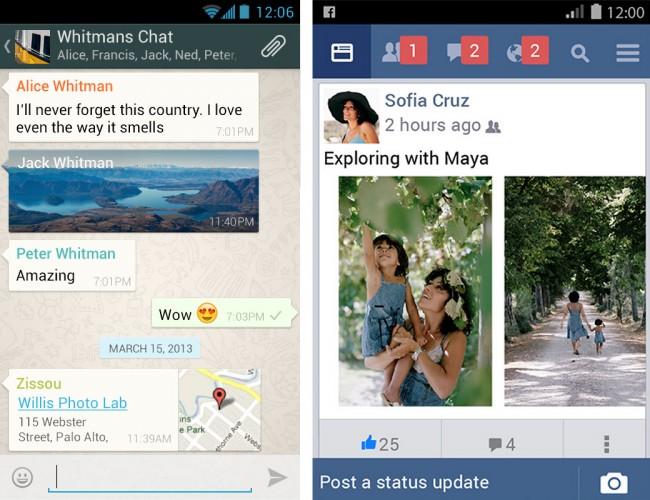 """Laut der Postbank-Studie kommunizieren """"digitale Deutsche"""" am häufigsten über Messenger, per E-Mail und mittels sozialer Netze. (Bildschirmfoto links: WhatsApp Inc., Bildschirmfoto rechts: Facebook)"""