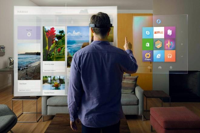 Microsoft Holo Lens Ein Traum aller Trekkies wird wahr, Microsoft baut eine etwas klobige Brille, die die Umgebung in ein Holodeck verwandelt. Wir können also bald auf alle Alltagsgegenstände Hologramme projizieren und mit denen interagieren.