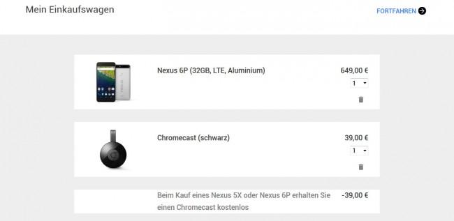 Wer das Nexus 6P bis zum 8. 12. 2015 kauft, erhält die Streaming-Hardware Chromecast kostenlos dazu.