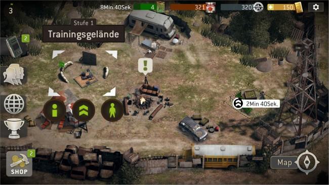Zurück in der Basis kannst du deine Anhänger trainieren, die einzelnen Komponenten verbessern oder nach weiteren Überlebenden suchen.