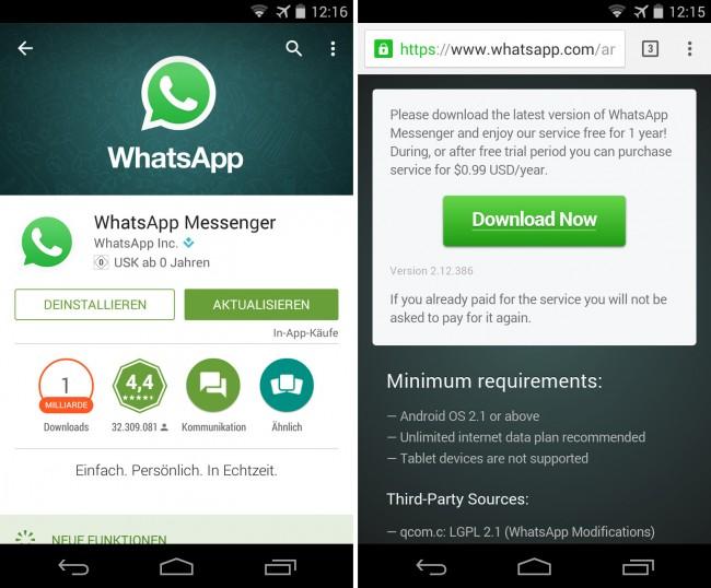 WhatsApp-Updates solltest du nur über den Google Play Store installieren – oder aber über die Web-Site des WhatsApp-Herstellers.