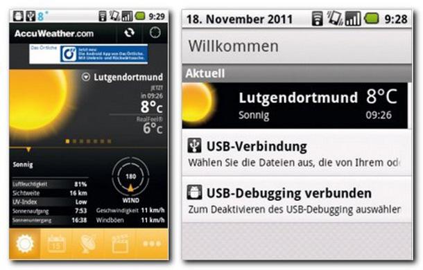 Accu Weather liefert präzise Wetter und Temperaturangaben.