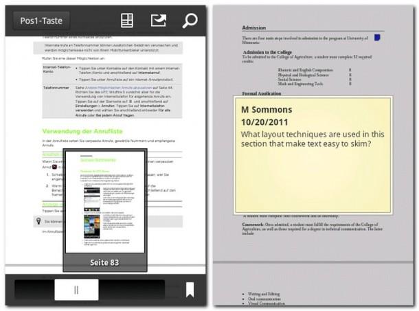 Der Adobe Reader zeigt PDF-Dateien zuverlässig an, dürfte aber gerne etwas komfortabler sein.