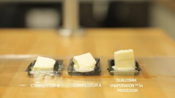 Auch im Butterbenchmark schlägt sich der Snapdragon S4 am besten. Foto: Youtube.