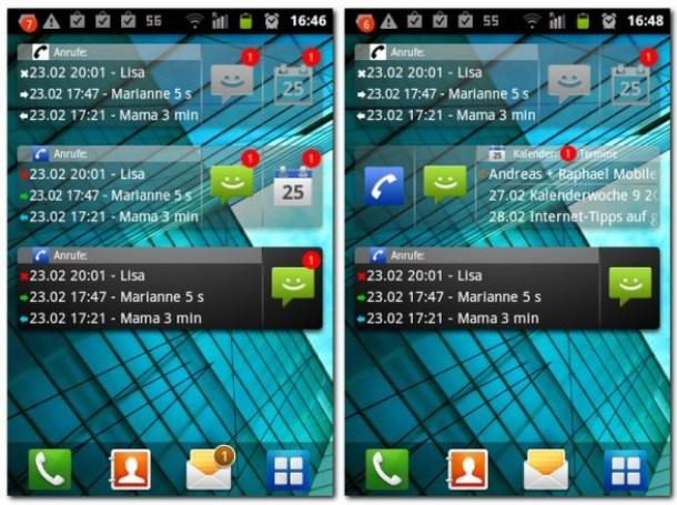 Mit dem Organizer Widget lassen sich Anrufe sowie Kalenderereignisse auf dem Homescreen anzeigen.