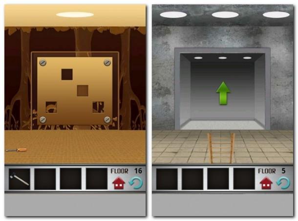 In jedem Stockwerk muss ein Rätsel gelöst werden um in den nächsten Aufzug zu gelangen