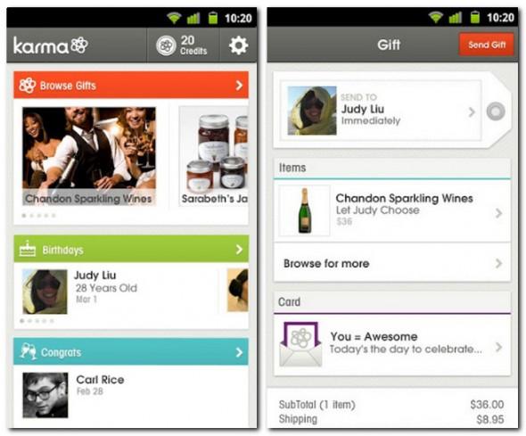 Mit Karma lassen sich Geschenke per Social Network, SMS oder E-Mail versenden.