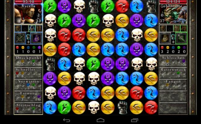 Puzzle Quest 2 verknüpft das Drei Gewinnt-Spielprinzip mit motivierenden Rollenspiel-Elementen.