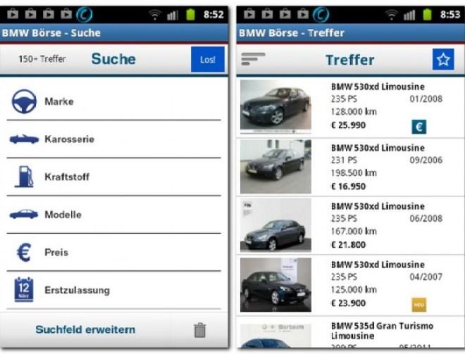 Autos suchst du nach verschiedenen Kriterien, die Ergebnisse werden übersichtlich aufgeschlüsselt.