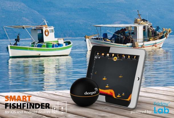 Der Deeper spürt mithilfe von Smartphones oder Tablets, Fische per Sonar auf. Foto: buydeeper.com.