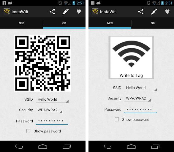 InstaWifi übermittelt das Passwort für das WLAN über NFC bzw. einen QR-Code.
