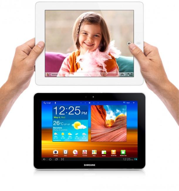 Es gibt genügend Unterscheidungsmerkmale zwischen Apples iPad und Samsungs Galaxy Tab. Foto: Apple, Samsung.
