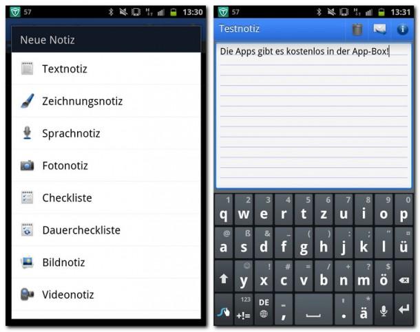 Note Everything Pro bietet eine Vielzahl an verschiedenen Notizarten, von Textnotizen bis zu Notizen von Google Docs. Die angelegten Notizen können in allen gängigen Netzwerken und Cloud Anwendungen geteilt werden.