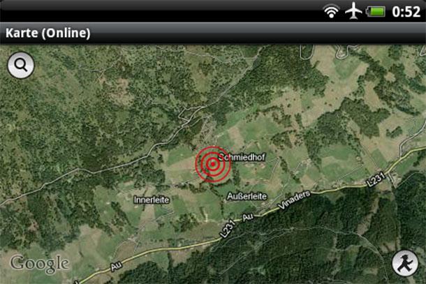 Auch Google Maps darf man zum Eingeben des Standorts verwenden.