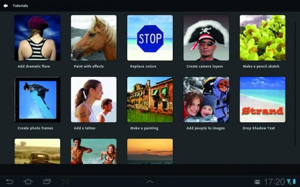 Zahlreiche Tutorials, die die elementaren Funktionen von Photoshop Touch interaktiv beschreiben, erleichtern den Einstieg in die doch recht komplexe App.