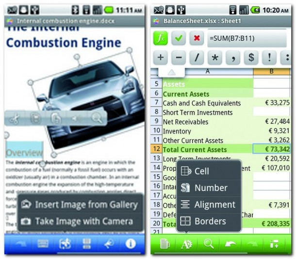 Mit Quickoffice Pro können Texte, Tabellen und Präsentation fast wie mit einer Office-Suite an einem PC bearbeitet werden. Für Tablet-User gibt es mit Quickoffice Pro HD eine eigens an das größere Display angepasste Version der App.