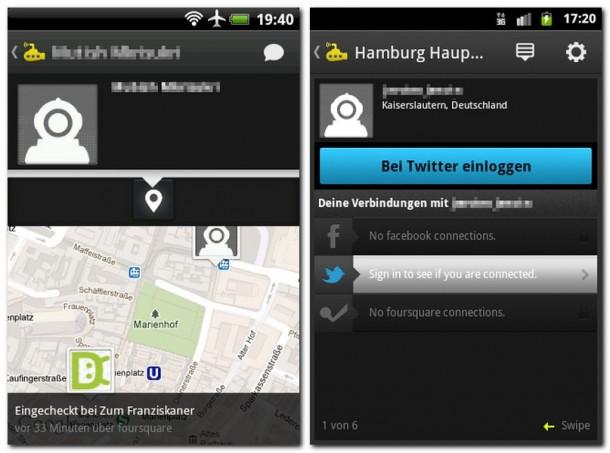 Sie erfahren, welche Freunde und Bekannte wann an welchen Orten eingetroffen sind. Die App zeigt, durch welche sozialen Netze Sie mit anderen Anwendern verbunden sind.